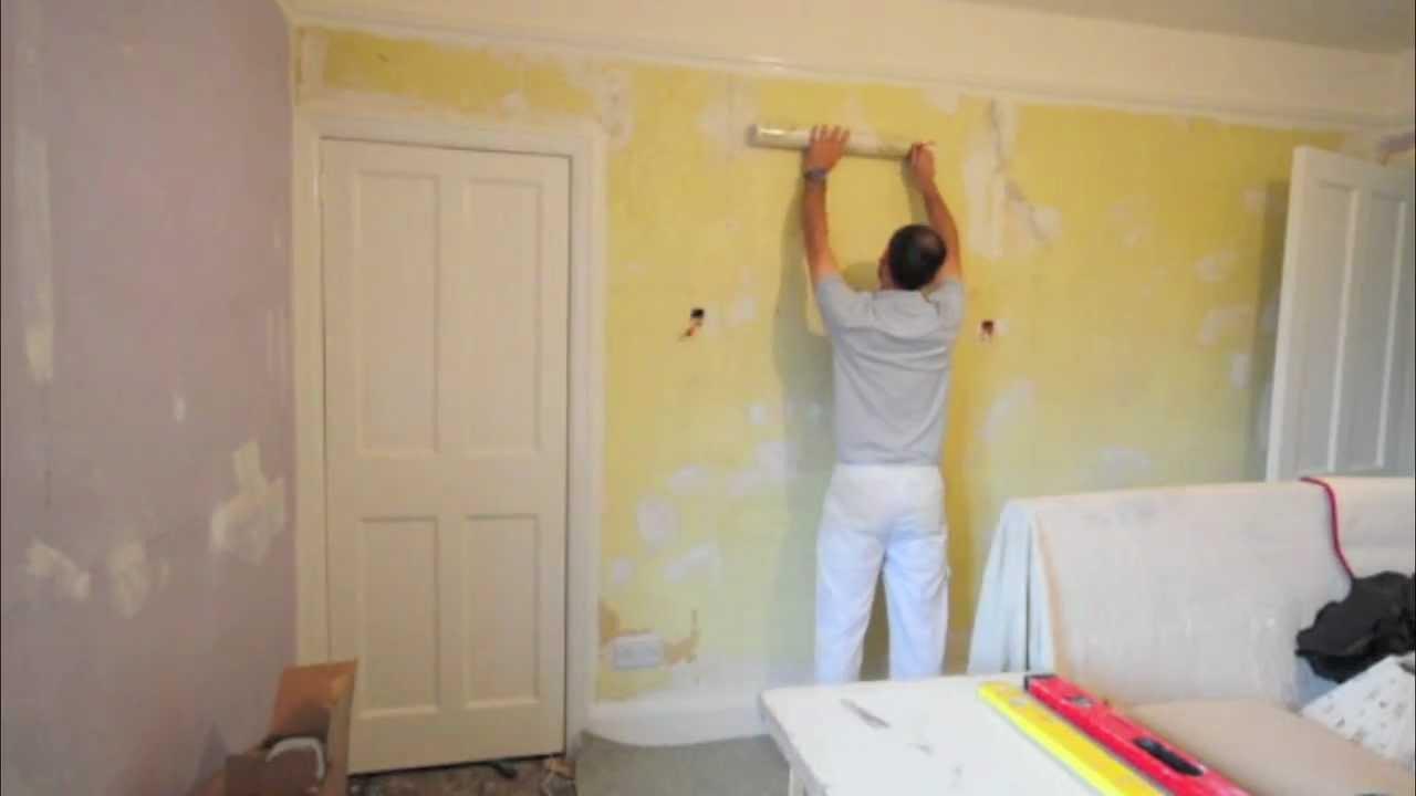 hanging wallpaper paste the wall youtube. Black Bedroom Furniture Sets. Home Design Ideas