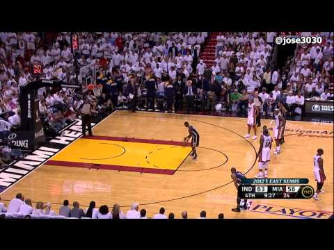 Dwyane Wade Flagrant Foul on Darren Collison - Pacers @ Heat 2012 NBA Playoffs