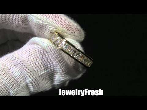 JewelryFresh 18k Gold Finish Baguette Stone CZ Eternity Ring Band w/ High End Lab Made Diamonds