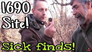 1650's site! Metal Detecting & SICK Privy dig! Relics, Bottles & Coins! Crazy hunt! WOW!