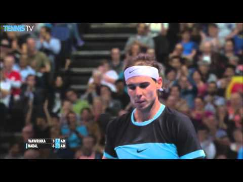 2015 Barclays ATP World Tour Finals - Amazing Rafa Nadal lob shot v Wawrinka