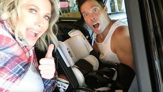 WE PUT OUR BABY CAR SEAT IN!