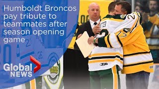 Humboldt Broncos pay tribute to teammates who died in bus crash after season opening game  from Global News