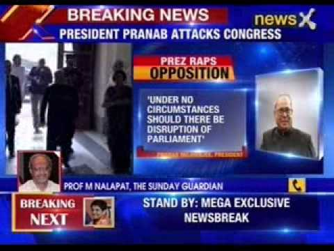 President Pranab Mukherjee attacks congress