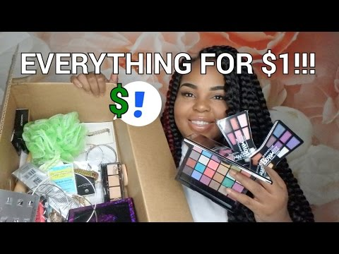 HUGE Shop Miss A HAUL   EVERYTHING FOR $1   40 Items   Makeup & Jewelry