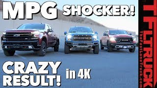 MPG Disappointment: 2019 Ford Raptor vs Chevy Silverado Trailboss vs Ram Rebel!