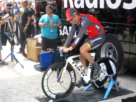 Lance Armstrong Warming Up at tour de france 2010