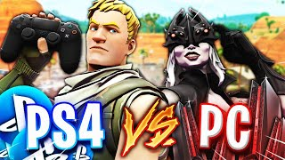 PC VS PS4  1 VS 1 - Fortnite Battle Royal !!!!