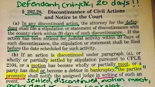 202.28 Discontinuance of Civil Actions & Notice to Court
