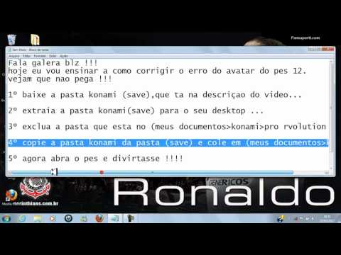 Video-aula de como resolver erro do avatar do pes 2012