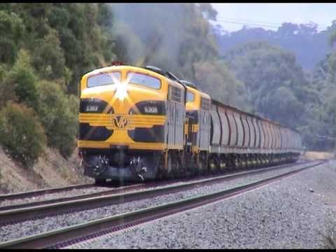 Australian Railways; EMD's down under; Three 567's, a full load and a 2% grade