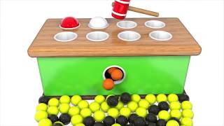 Learn Colors with Wooden Ball Hammer Educational Toys Whac a Mole Colors for Kids Learning Colors