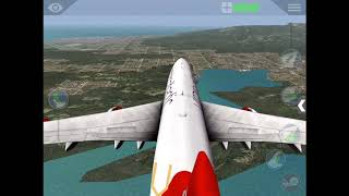 Boeing 747 landing in a short runway(HD) - x plane 10