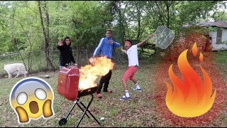 WE TRIED TO BLOW UP THE BBQ GRILL!!! (GRILL CATCH ON FIRE)