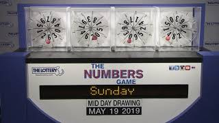 Midday Numbers Game Drawing: Sunday, May 19, 2019