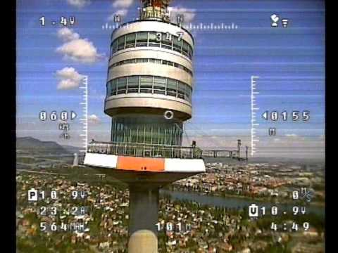 FPV Air Rage 2. RC Plane Onboard Camera Danube Tower Vienna Austria Skyscraper City Building muni86