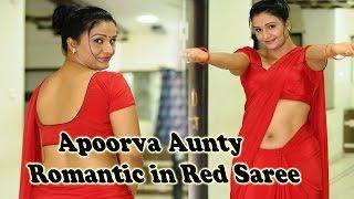 Telugu Actress  Apoorva Aunty Romantic in Red Saree