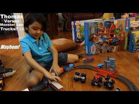 The All New Trackmaster! Monster Jam Trucks VS Thomas the Tank Engine :-)