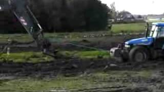 Farm tractor in the Mud Excavator vs tractor crash Dumper