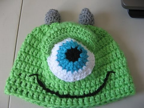 Crochet Green One Eye Monster Hat - Video One