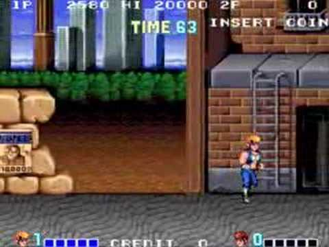 Double Dragon arcade gameplay of the first mission