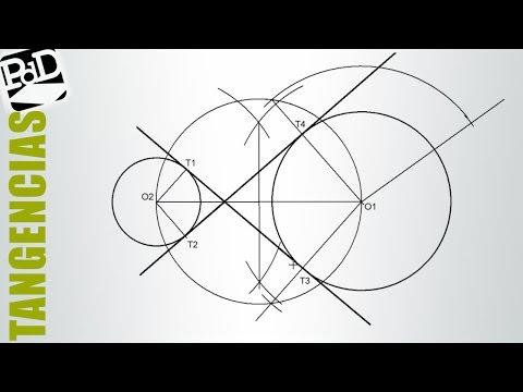 Trazar las rectas tangentes interiores a dos circunferencias (Tangencias).