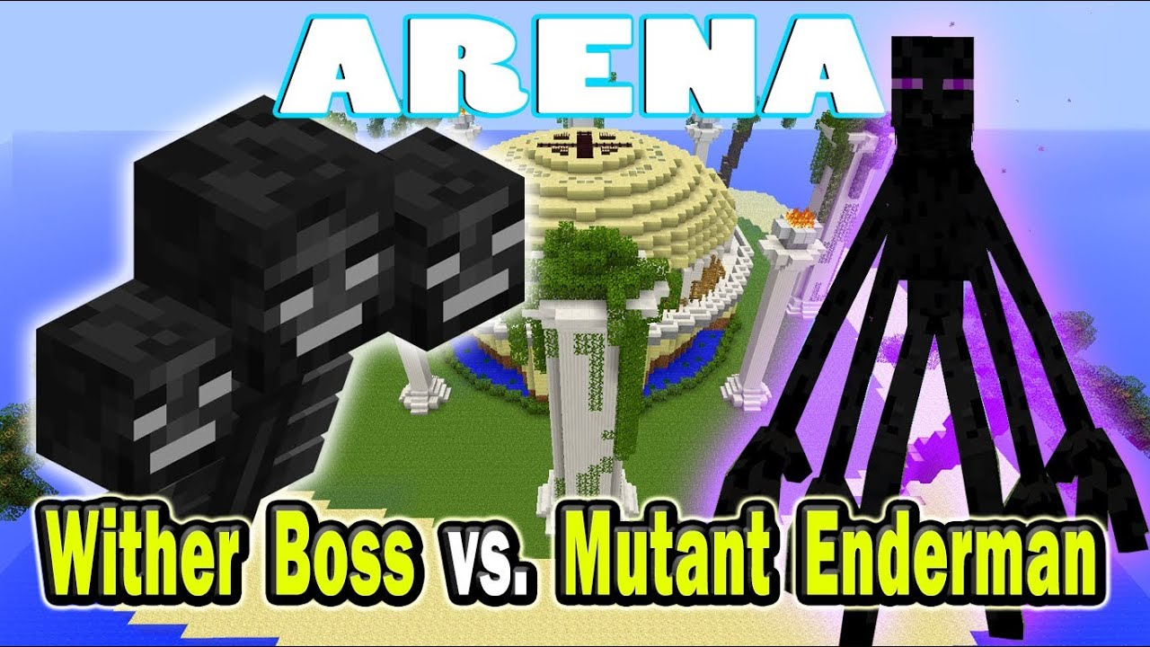 minecraft arena battle wither boss vs mutant enderman