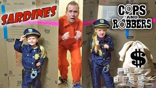 SHACKLED SARDINES in a HUGE BOX FORT MAZE! Cops and Robbers Family Hide and Seek Game!!!