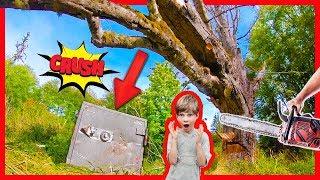 CRUSHING OPEN SECRET ABANDONED SAFE with GiANT TREE!