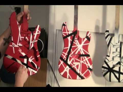 HOW TO PAINT A VAN HALEN EVH FRANKENSTRAT GUITAR PROJECT PULLING THE TAPE PART 2
