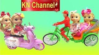 KN Channel Đồ chơi trẻ em BÚP BÊ CỞI XE XÍCH LÔ KÉO VÀ XE TAY GA MÀU HỒNG