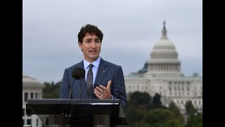 Trudeaus news conference at Canadian Embassy in Washington