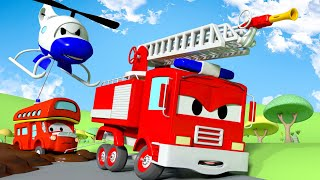 Carro de polícia para crianças - Caminhão enlodado - Cidade do Carro! Desenho animado de carros