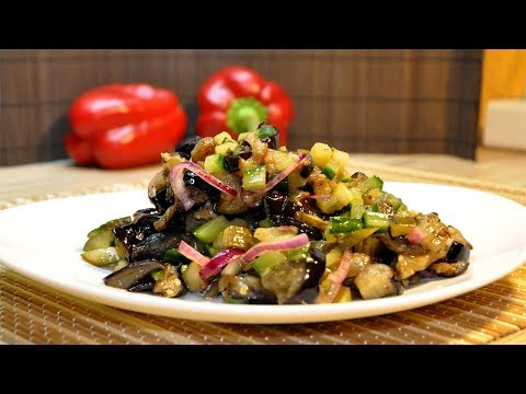 Постная Закуска  Баклажанный салат с огурцом