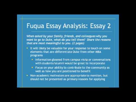 Duke Fuqua School Essay Analysis 2013/2014 Season - Write Like an Expert
