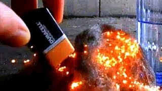 Survival- Starting a Fire with Steel Wool & 9V Battery!