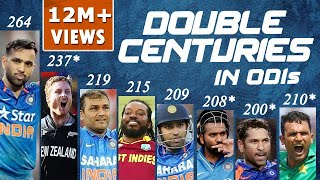Double Centuries in ODI Cricket | Sachin, Sehwag, Rohit, Chris Gayle, Martin Guptill, Fakhar Zaman