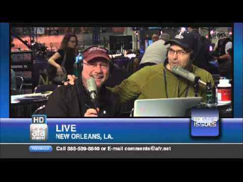 Tim Wildmon and Roman Gabriel III from the Superbowl's Radio Row