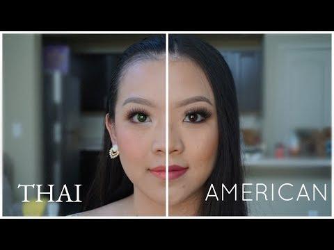 American VS Thai Makeup Tutorial - YouTube