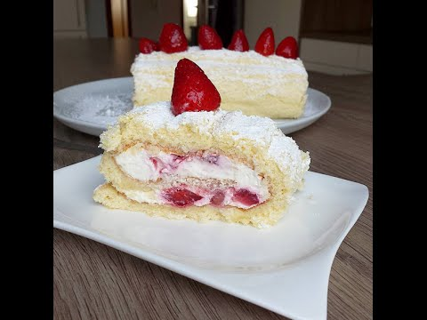 Çilekli Rulo Pasta Tarifi Videosu - Pasta Tarifleri