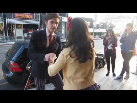 Drake Bell Teaches a Fan How To Swing Dance Outside The Roxy 2/19/12