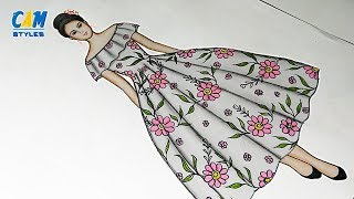 Beautiful dresses drawing | How to draw Women's Floral Dress | Fashion illustration art