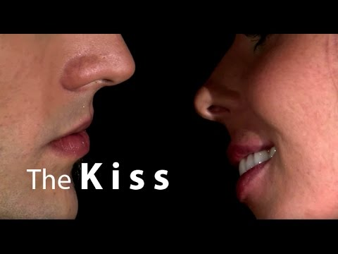 First Kiss romantic closeup, stock video footage