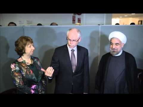 Catherine Ashton and Van Rompuy meet President of Iran Hassan Rouhani