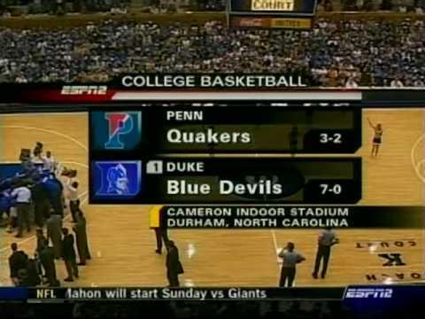 2005 JJ Redick scored 24 points vs Penn
