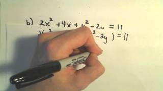 Identifying a Conic from an Equation by Completing the Square, Ex 1