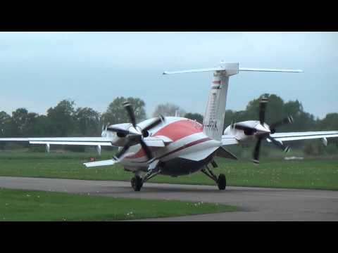 Engine start and takeoff PH-HRK Piaggio P.180 Avanti II at Teuge Airport