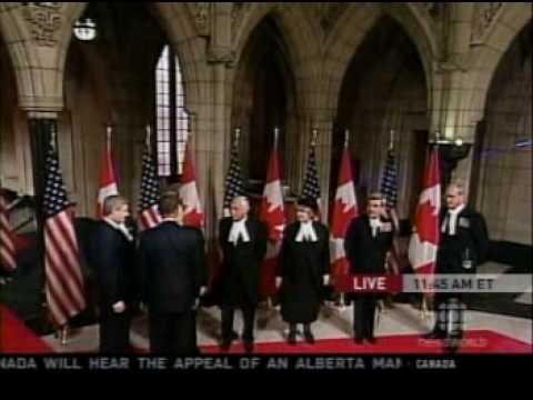 Prime Minister Stephen Harper greets President Barack Obama at Parliment Hill, Ottawa, Canada