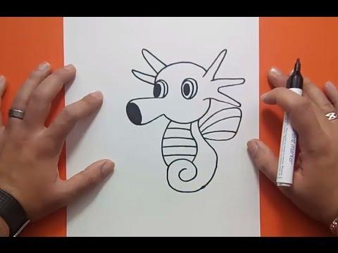 Como dibujar a Horsea paso a paso - Pokemon | How to draw Horsea - Pokemon