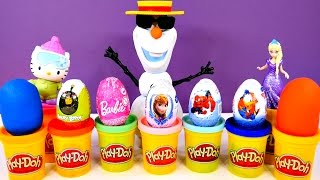 FROZEN SPIDERMAN BARBIE ANGRY BIRDS PLAY DOH DONALD DUCK KINDER SURPRISE EGGS